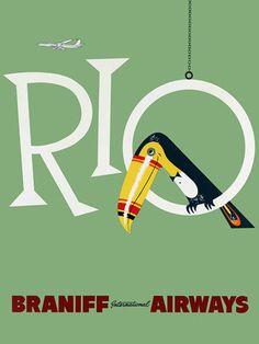 Rio de Janeiro, Brazil. Vintage travel poster…