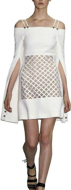 Off-the-Shoulder Strappy Lattice Dress, White