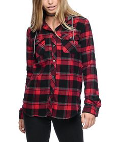 Stay cozy and comfortable while keeping with the times and trends with this Eddy black and red plaid hooded flannel from Empyre. A slightly longer flannel with high low bottom hems provide a modern look while the soft 100% cotton body will allow you to st
