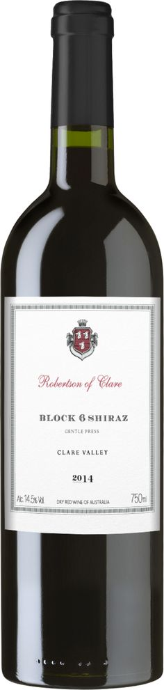 Robertson Of Clare 'Block Shiraz 2014 From two premium, unique parcels in Clare Valley Aged in oak barriques for 14 months Unique expression of Clare terroir & structure Wine Australia, Clare Valley, Wines, Red Wine, Alcoholic Drinks, The Unit, Bottle, Unique, Liquor Drinks