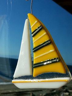 Fused Glass Yellow Sailboat Tree Ornament or Sun by RecycledelicBC