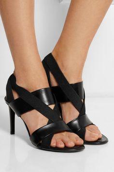 Balenciaga|Leather and elastic sandals|NET-A-PORTER.COM