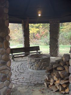 Covered fire pit area, to enjoy a campfire all year! I picture this as an outdoor living space next to the tiny house on my land.