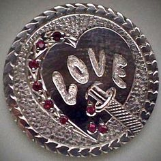 DIMAS SÁNCHEZ MORADIELLOS LOVE TOKEN - HEART WITH INSET RUBIES - NO DATE BUFFALO NICKEL Cactus, Coins, Carving, Brooch, Personalized Items, Love, Jewelry, Key Fobs, Amor