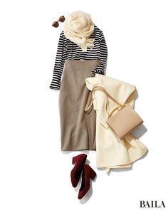 リラックスしたい休日は、やさしい色のアイテムや定番柄を使って落ち着いたコーディネートを。クリームやベーシュ、細ボーダーを使ってまとめれば、温かみも好感度も高い休日スタイルに。タイトスカートをはくなら、ハイウエストアイテムを選ぶとスタイルアップしつつ今季らしいムードが上がります。シ・・・ Japan Fashion, 50 Fashion, Office Fashion, Work Fashion, Skirt Fashion, Daily Fashion, Korean Fashion, Winter Fashion, Fashion Looks