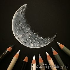 Just felt like drawing a moon tonight!Prismacolor pencils on black Strathmore Artagain sketchbook.