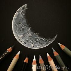 Just felt like drawing a moon tonight!Prismacolor pencils on black Strathmore Artagain sketchbook.