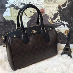 """SALE  Coach Large Signature Bennett Satchel Bag New with tags and store receipt  F36187 MSRP $425 Brown signature coated canvas w/ black crossgrain leather trim Zip closure Gold hardware Coach logo on front Rear magnetic pocket  Protective feet Black fabric lining Interior (1) zip pocket, (2) open multifunction pockets 11 1/4"""" (L) x 7 3/4"""" (H) x 6"""" (W) Adjustable crossbody/shoulder strap with 22"""" drop   PRICE FIRM ON THIS ITEM  Coach Bags Satchels"""