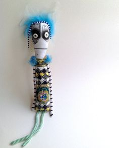 Gift doll, ooak art doll with button eyes, hand beaded and embroidered details. Free shipping!