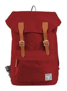 Red G.Ride backpack. Material polyester 300D. 1 Compartment with snap buttons closure. Inside pocket for iPad Air and zipped pocket. Lateral zip for easy access. Front sueded patch. Expandable zipped compartment at the bottom of the backpack. Reinforced base. High density back and shoulder straps. Size: 28 x 12 x 42 cm