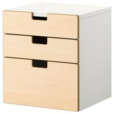 STUVA 3 drawer chest - birch - IKEA, $99 for under the desk. Birch might be a nice break between the white. Or maybe a color!