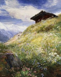 MacWhirter, John (1839-1911- Alpine meadows, Switzerland
