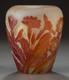 Galle' Overlay Cameo Glass Floral Vase   c.1900