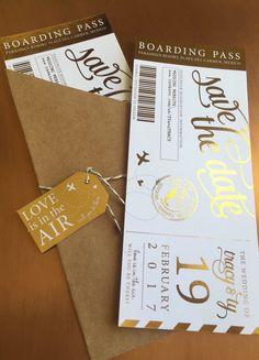 Shimmering Metallic Custom Boarding Pass Save the Dates