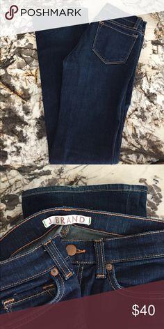 "J Brand Straight Leg Jean - 25 EUC, dark wash, tiniest bit of wear at back of ankles. 33"" inseam. J Brand Jeans Straight Leg"