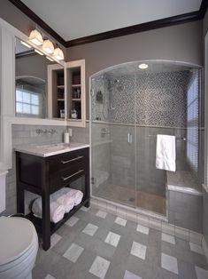 Colors - like the black trim & cabinet w/ gray walls & tile inside shower