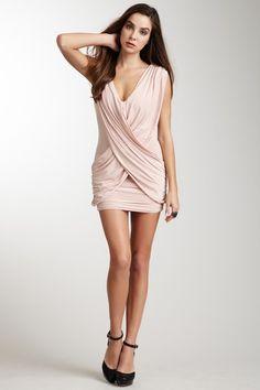 V-Neck Draped Ruching Dress