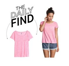 """Daily Find: H&M Pink T-Shirt"" by polyvore-editorial ❤ liked on Polyvore featuring H&M and DailyFind"