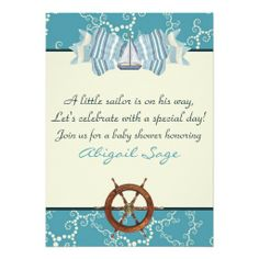 Nautical Sailboat Baby Shower Invites for Boys