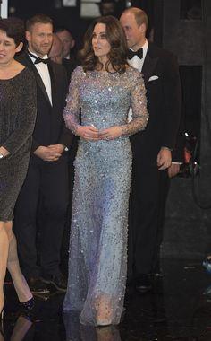 LONDON 24 November - The Royal Variety Performance Jenny Packham Light Blue Beaded Gown Oscar de la Renta 'Cabrina' Pumps ($690) Jenny Packham 'Mini Casa' Clutch ($498) HM's Diamond Pendant Earrings