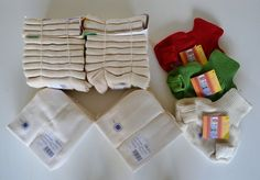 DISANA Starter Set Knitted/Tie-On Diapers (20 diapers, 20 liners, 3 wool covers) #Disana