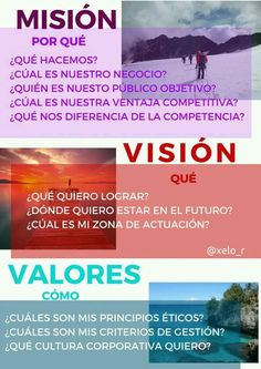 Misión. Visión. Valores. Emprendimientos.