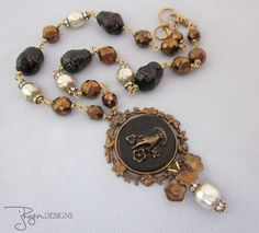 Found Object Assemblage Buckle Necklace, Pearls, Rhinestone Necklace, Black Beads, Flower, OOAK Assemblage Jewelry - JryenDesigns