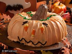 Ghoulish Halloween Cake - Show a bit of creativity with this frightfully fun recipe for a Jack O' Lantern cake. Perfect for parties for kids and adults alike!