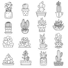 Illustration of Cactus line black white icons set with different types of succulents flat isolated vector illustration vector art, clipart and stock vectors. Cactus Drawing, Succulents Drawing, Plant Drawing, Botanical Line Drawing, Botanical Drawings, Doodle Coloring, Colouring Pages, Doodle Drawings, Doodle Art