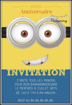 Invitation minion jaune gratuite à télécharger et personnaliser Free printable invitation