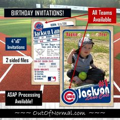 "Chicago Cubs Vintage Trading Cards 4""x6"" Invitations Vintage Invitations, Baby Shower Invitations, Custom Gifts, Customized Gifts, Baseball Birthday Invitations, Chicago Cubs Baseball, Homemade Gifts, Trading Cards, Party Time"