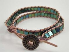 Double Leather Wrap Bracelet - ShopHandmade  The Shiny Bead www.theshinybead.shophandmade.com