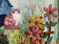 "Detail from Ann Horton's quilt ""Nine Lives Animal Shelter"""