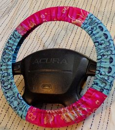 Stunning Pink Floral Design with Blue Flowers Steering Wheel Cover on Etsy, $12.00