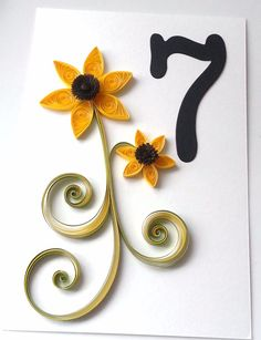 Fall Wedding Sunflower Table Numbers Custom by WintergreenDesign