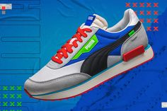 After months of teasing, PUMA's Future Rider Ride On sneaker has finally hit shelves worldwide. Puma Store, Walk Run, Easy Rider, Pumas, Smooth Leather, Leather Shoes, Nice Dresses, Athletic Shoes, Product Launch