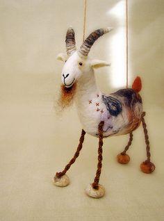 Gerhard   Felt Goat Art Marionette Handmade by TwoSadDonkeys,