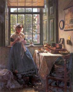 """✿Needlework Near The Window✿ """"A Young Girl Doing Needle Work"""" ~ Hermann Knopf – Austrian) Classic Paintings, Beautiful Paintings, Sewing Art, Victorian Women, Fabric Painting, Pretty Pictures, Watercolor Art, Needlework, Illustration Art"""