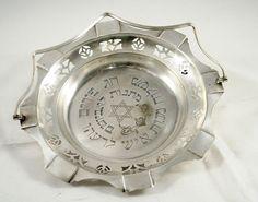 English Antique Silver Plated Purim Tray Hebrew Art Deco England circa 20s