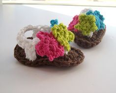 Crochet Baby Flip Flops / Baby Flower Sandals Baby by puddintoes