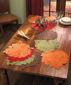 I like the tablerunner; can use felt leaves instead.
