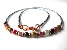 Tourmaline necklace simple beaded gemstone layering by StarJewels, $22.00