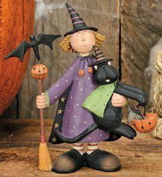 Girl Witch Holding Black Cat Figurine - Halloween Folk Art & Collectibles – Williraye Studio $27.50