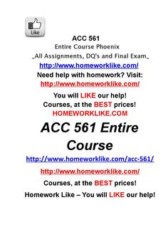 Acc 561 entire course phoenix all assignments, dq's and final exam