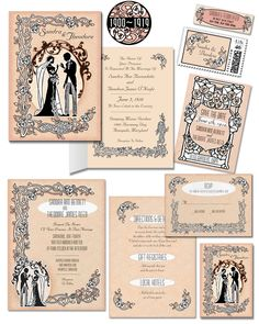 Downton Abbey Inspired Wedding Invitation Suite. Perfection in Art Nouveau elegance... just a thought.