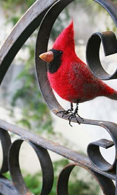 Needle felted cardinal - Inspiration for winter nature table