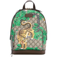 Gucci Gucci Bengal Gg Supreme Backpack (4 625 PLN) ❤ liked on Polyvore featuring bags, backpacks, beige, gucci, backpack bags, top handle bags, daypack bag and print backpacks