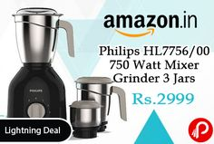 Amazon #LightningDeal is offering 30% off on Philips HL7756/00 750 Watt Mixer Grinder 3 Jars at Rs.2999 Only. Advanced air ventilation system, New turbo powerful motor, Specialized blades for smooth grinding, 2 years on product warranty.  http://www.paisebachaoindia.com/philips-hl775600-750-watt-mixer-grinder-3-jars-at-rs-2999-only-amazon/