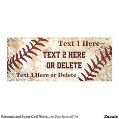 Personalized Baseball Banner with unique vintage baseball design, three text boxes for YOUR TEXT: http://www.zazzle.com/personalized_super_cool_vintage_baseball_banner-256049368262505053?rf=238012603407381242 Type in team name, year, baseball championship party text or YOUR TEXT. More personalized vintage baseball party supplies gifts HERE: http://www.Zazzle.com/YourSportsGifts Featured Invitations, Stamps, Supplies HERE…