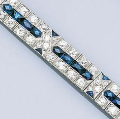 An art deco sapphire and diamond bracelet, circa 1925,